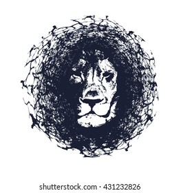 Lion. Vector illustration in grunge style. Element for your design.