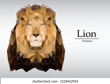 Lion vector polygon geometric,triangulate