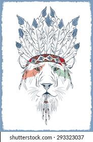 lion in war bonnet, hand drawn animal illustration for apparel