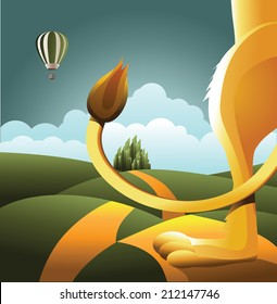 Lion watches balloon. EPS 10 vector, grouped for easy editing. No open shapes or paths.
