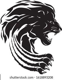 Lion Wild Claw Attack Silhouette