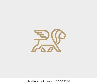 Lion with wings logo design template. Linear premium vector logotype