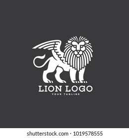 Lion with wings logo template design on a grey background. Vector illustration.