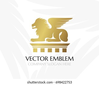 Lion with wings on the pillar. Law firm logo template. Concept for legal firms, notary offices, justice companies, banks. Golden version