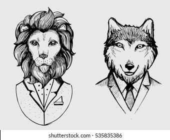 Lion and wolf in suits. Hand drawn vector illustration.