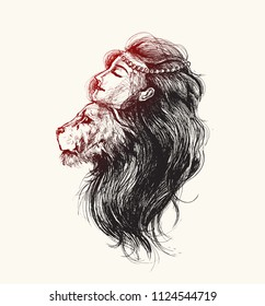 Lion Woman with crown of feathers, Hand Drawn Sketch Vector illustration.
