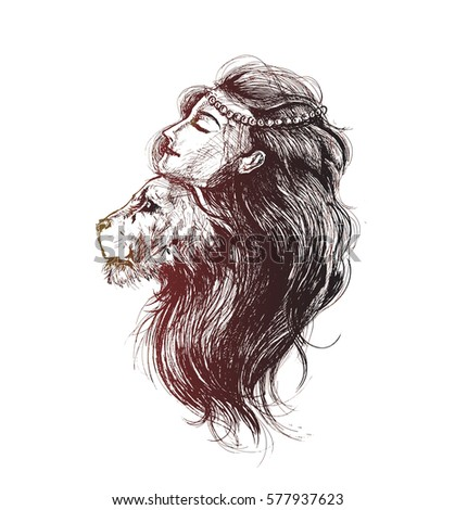 Lion Woman Crown Feathers Hand Drawn Stock Vektorgrafik Lizenzfrei