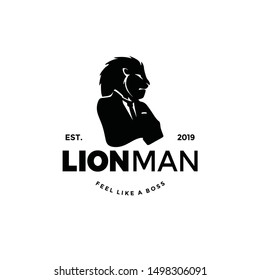 Lion worker man logo silhouette with head of animal and human body. unique cool design. wear suit coat, tie like a boss. Cool Stand out.