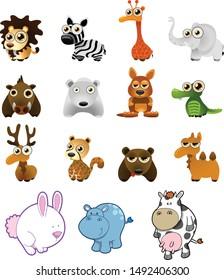 lion, zebra, giraffe, elephant, crocodile, rabbit, bear, deer, hippo and cow vector set