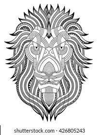 Lion zentangle. Editable monochrome vector illustration