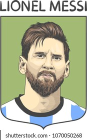 Lionel Messi, an Argentine professional footballer. Vector Portrait Drawing Illustration. April 16, 2018