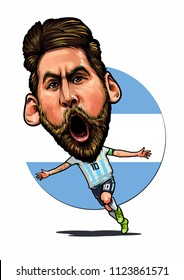 Lionel Messi, an Argentine professional footballer. Vector Caricature Illustration. June 29, 2018