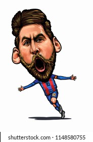 Lionel Messi, an Argentine professional footballer.Caricature Illustration.August 3,2018