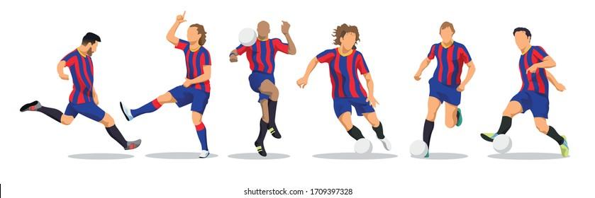 Lionel Messi, Johannes Cruijff, Lilian Thuram, Carles Puyol, Antoine Griezmann, Xavi Hernandez. Football Players. 26 March 2020. Barcelona, Spain. Goal Celebration. Vector isolated illustration.