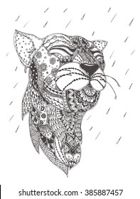 Lioness with ethnic floral doodle pattern. Coloring page - zendala, design for spiritual relaxation for adults, vector illustration, isolated on a white background. Zen doodles.