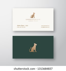 Lioness Grace Abstract Vector Logo and Business Card Template. Gracefull Sitting Lion Silhouette with Retro Typography. Premium Stationary Realistic Mock Up. Isolated.
