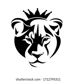 lioness head looking forward wearing royal crown black and white vector portrait