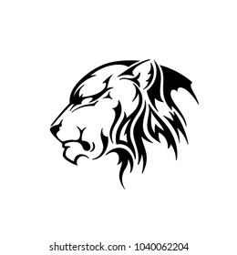 Lioness head. Silhouette vector illustration isolated on white background