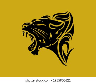 lioness logo. vector drawing of a snarling lioness. sketch tribal tattoo lioness head