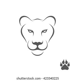 Lioness with paw print. Logo