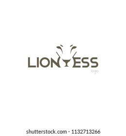 the lioness' s logo. logo for the company. the head of a lioness. wild cat