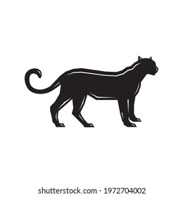 Lioness Silhouette Vector Images, Flat Icons, Graphics, Logo Design. Black Lioness design vector illustration. Puma side view isolated white background Editable cougar templates clipart symbol panther
