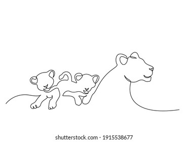 Lioness and small cubs. Lion family. Continuous one line drawing. Vector illustration. Line art