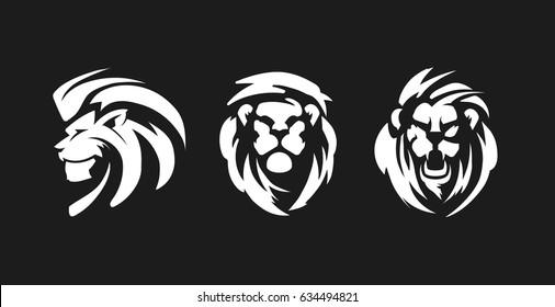 Lions black and white emblems. Lion symbols. Lions Logo Design.