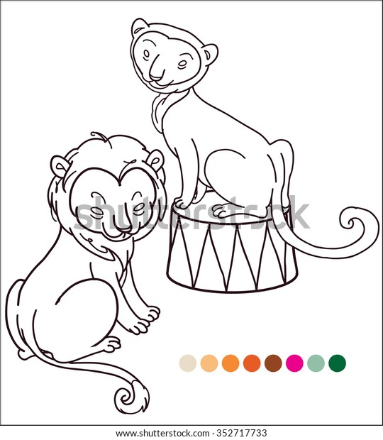 Lions Couple Vector Outline Colouring Cartoon Stock Vector Royalty Free 352717733 A lion template is a ready to use outline which can be used to create a lion for lion masks, lion shapes, lion crafts, lion projects etc. shutterstock