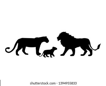 Lions family predator black silhouette animal. Vector Illustrator.