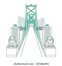 Lions Gate bridge with two lying lion statues & the towers leading over to a mountain range