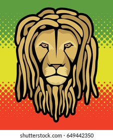 Lion's head with dreadlocks and reggae halftone flag background...for t-shirts, posters...