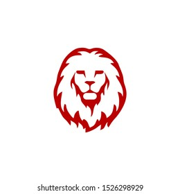 The lion's head is facing forward with a frowning mouth.