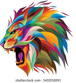 lion's head in full color