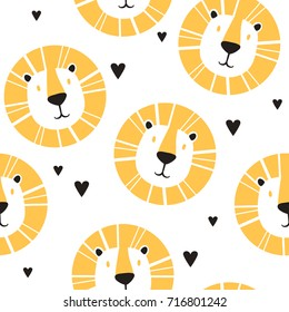 Lions and hearts, hand drawn backdrop. Colorful seamless pattern with muzzles of animals. Decorative cute wallpaper, good for printing. Overlapping background vector