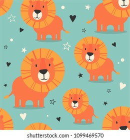 Lions, hearts, stars, hand drawn backdrop. Colorful seamless pattern with muzzles of animals. Decorative cute wallpaper, good for printing. Overlapping colored background vector