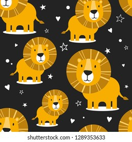 Lions, hearts, stars, hand drawn backdrop. Colorful seamless pattern with animals. Decorative cute wallpaper, good for printing. Overlapping colored background vector