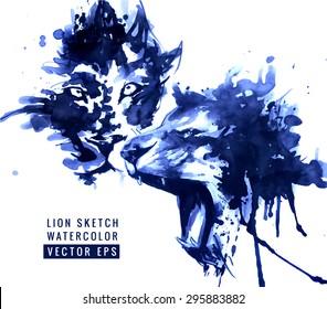 Lions illustration. Watercolor design. Black and white sketch. Vector design.