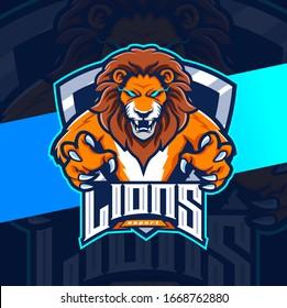lions mascot esport logo design