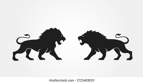 lions opposite each other. vector animal icon for emblem and logo