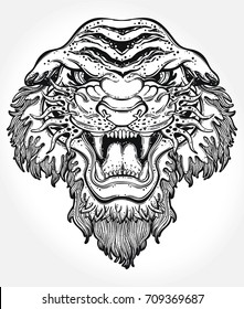 Lion's portrait made in an old-stylized tattoo. Vector illustration for coloring book, t-shirts, tattoo art, boho design, posters, textiles. Isolated vector illustration.