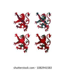 Lions of Scotland on tartan background. Vector illustration.