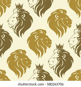 Lions seamless pattern, lion head with crown logo, royal cat profile texture. Vector
