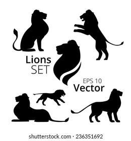 Lions set vector