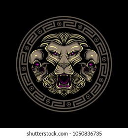 Lions and skull with circle illustration