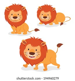 Lions. Three cartoon lions isolated on white background.