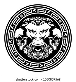 Lions and two skull with circle in black and white