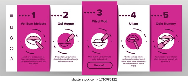 Lip Balm Cosmetic Onboarding Icons Set Vector. Lip Balm Package And Containers, Tube And Lipstick Fashion Beauty Accessory Illustrations