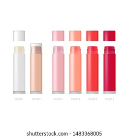 Lip balm packaging template. Vector lipstick blank mockup. Lip moisturiser tube set in different colors isolated. Cosmetic products in 3d realistic style.