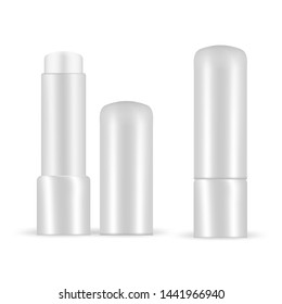 Lip balm vector set isolated on white. Opened sticks mock up with grey plastic container. Moisturizing 3d beewax essence for lip skin protection. Ecological product for natral mouth look.